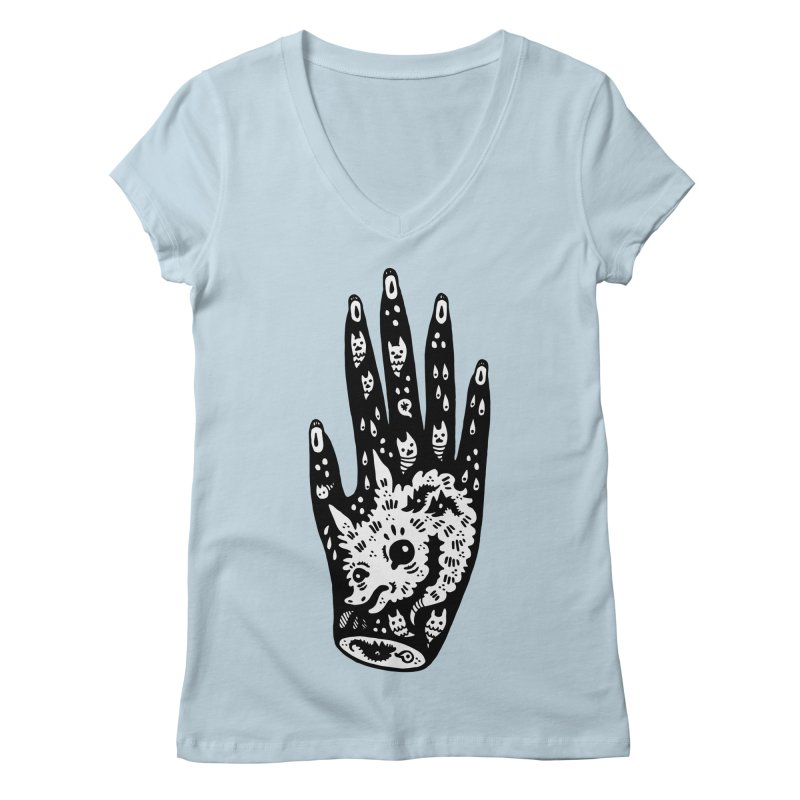 Right Hand (white inside) Women's Regular V-Neck by Haypeep's Artist Shop