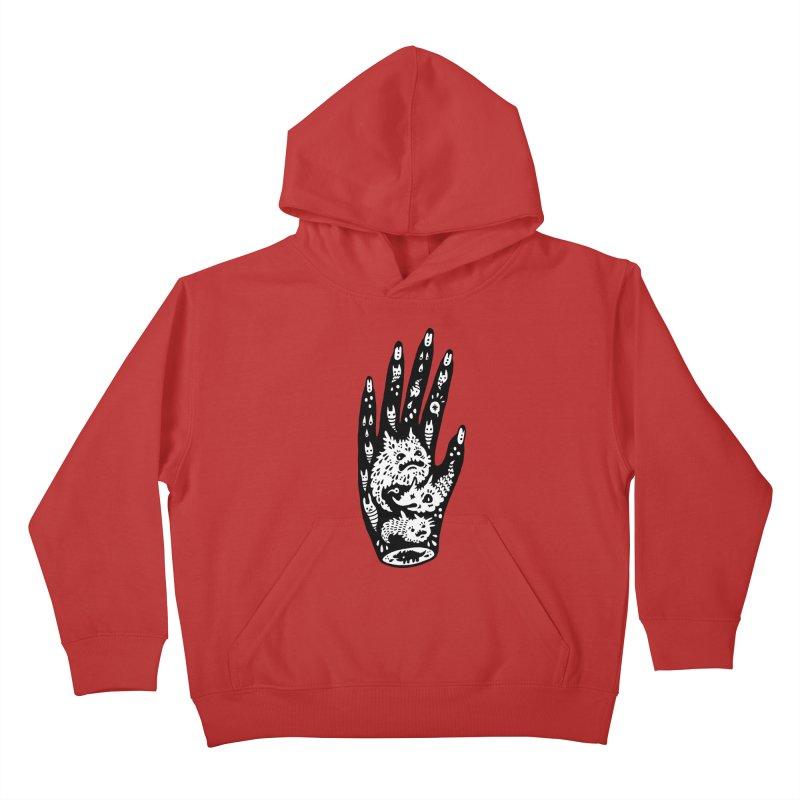 Left Hand (white inside) Kids Pullover Hoody by Haypeep's Artist Shop