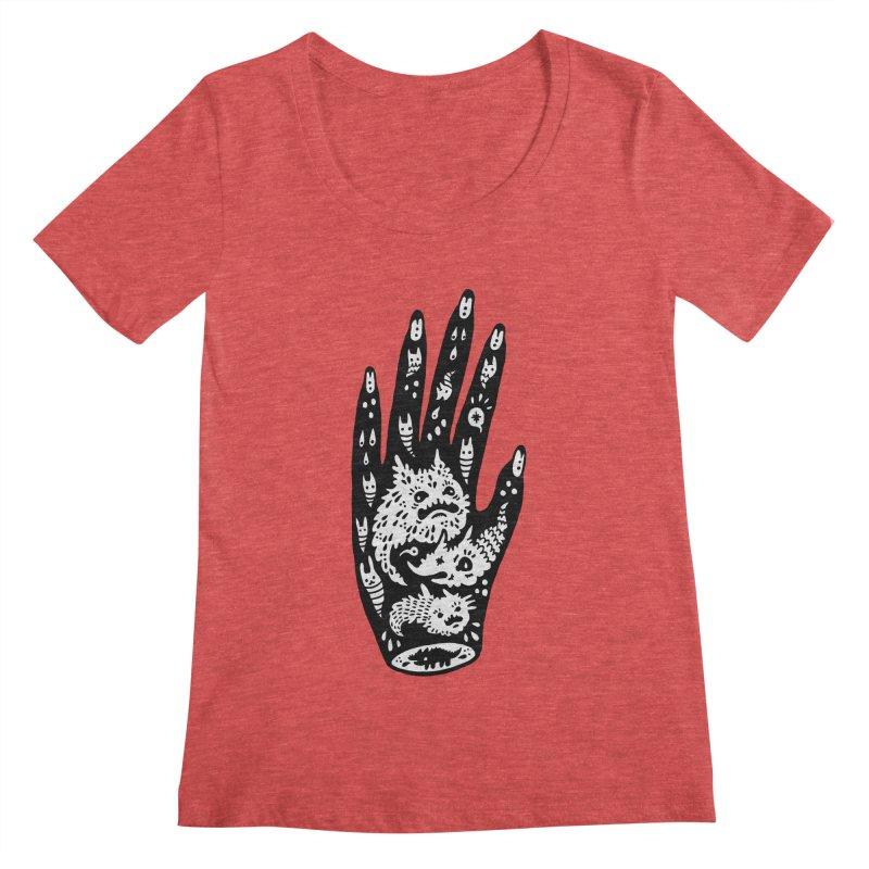 Left Hand (white inside) Women's Scoopneck by Haypeep's Artist Shop