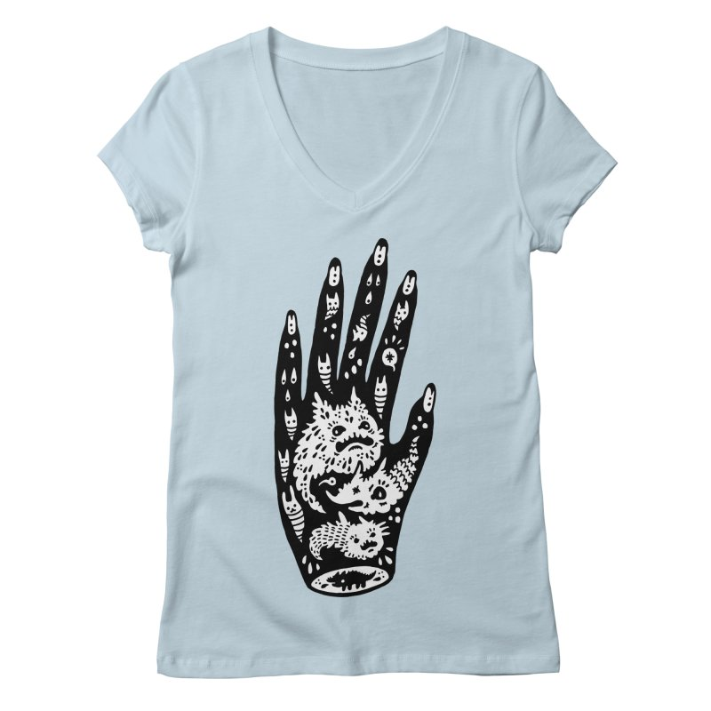 Left Hand (white inside) Women's Regular V-Neck by Haypeep's Artist Shop