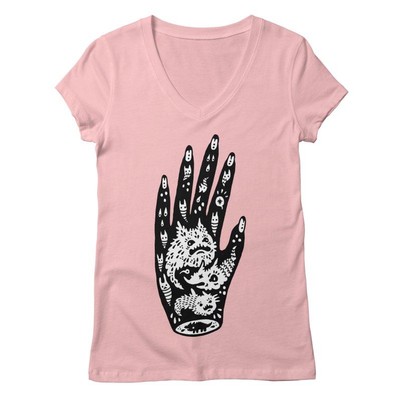 Left Hand (white inside) Women's Regular V-Neck by Haypeep's Artist Shop