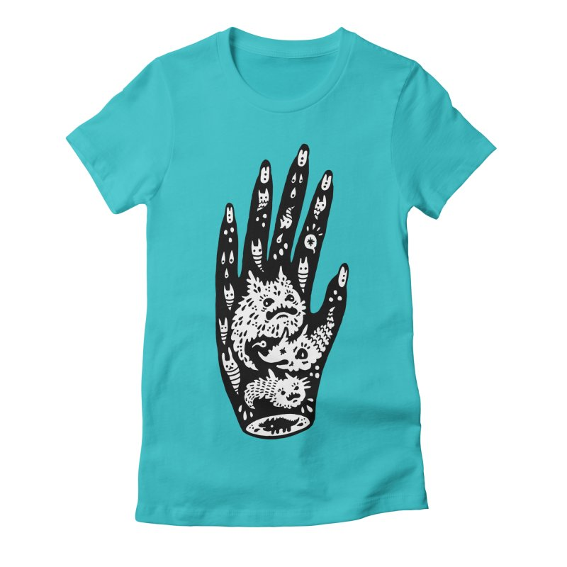 Left Hand (white inside) Women's Fitted T-Shirt by Haypeep's Artist Shop
