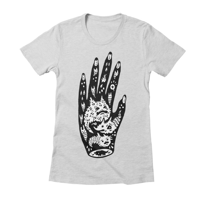 Left Hand (white inside) Women's Fitted T-Shirt by Haypeep's Artist Shop