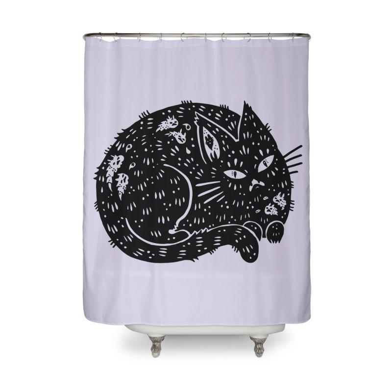 Fatty Cat sitting Home Shower Curtain by Haypeep's Artist Shop