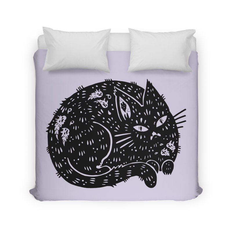 Fatty Cat sitting Home Duvet by Haypeep's Artist Shop