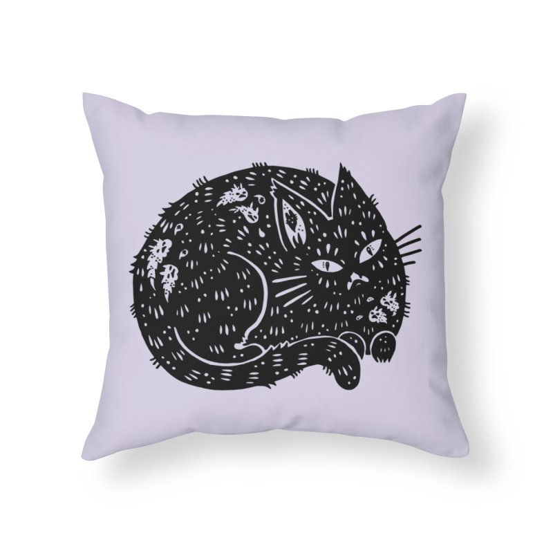 Fatty Cat sitting Home Throw Pillow by Haypeep's Artist Shop