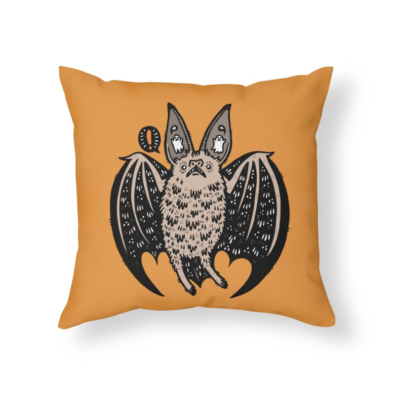 Batty Bat Home Throw Pillow by Haypeep's Artist Shop