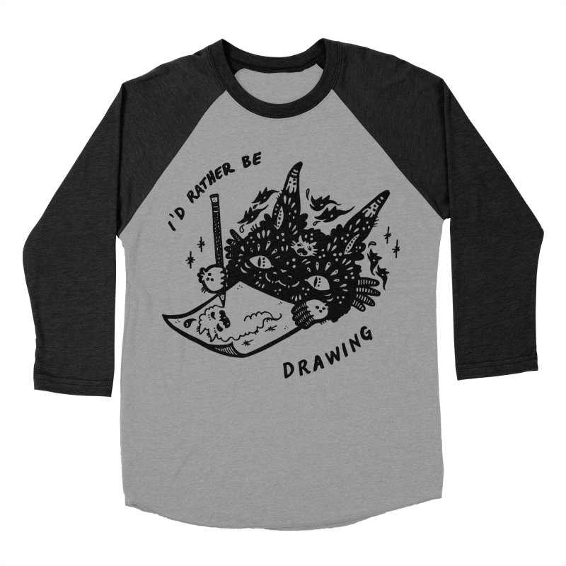 I'd rather be drawing Women's Baseball Triblend Longsleeve T-Shirt by Haypeep's Artist Shop