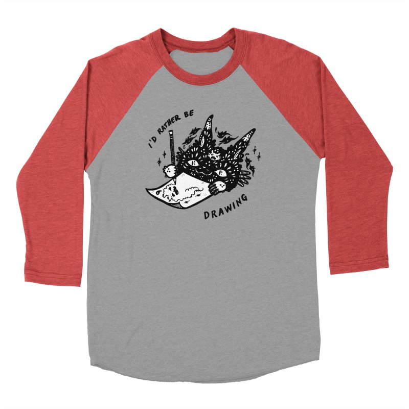 I'd rather be drawing (white background) Women's Baseball Triblend Longsleeve T-Shirt by Haypeep's Artist Shop