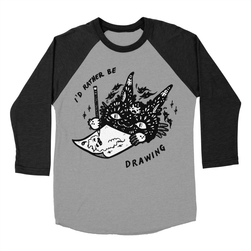 I'd rather be drawing (white background) Men's Baseball Triblend Longsleeve T-Shirt by Haypeep's Artist Shop