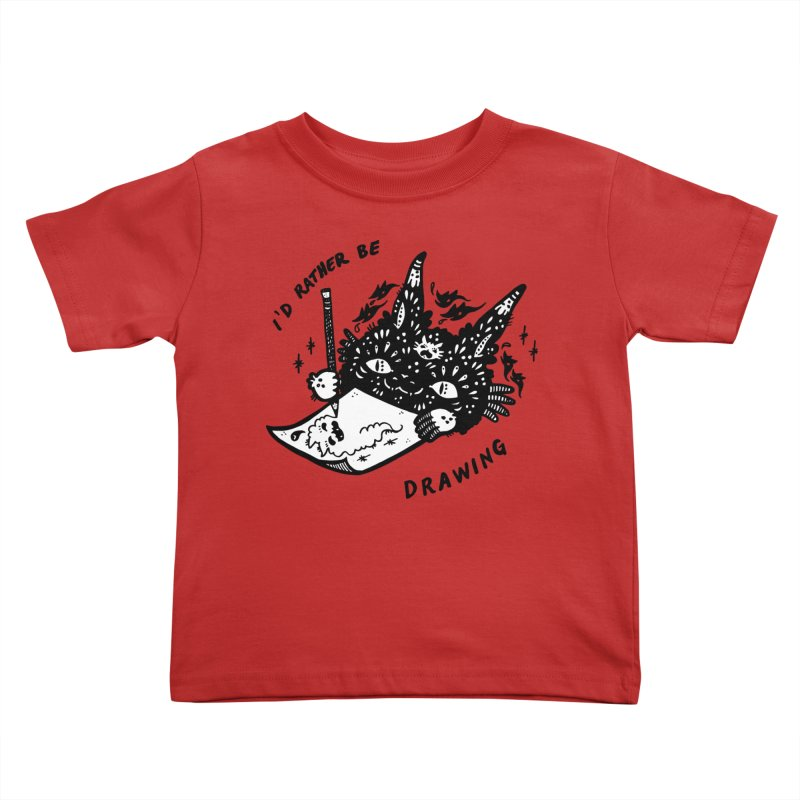 I'd rather be drawing (white background) Kids Toddler T-Shirt by Haypeep's Artist Shop