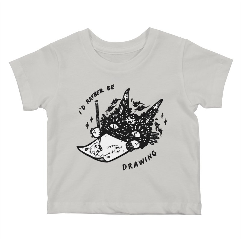 I'd rather be drawing (white background) Kids Baby T-Shirt by Haypeep's Artist Shop