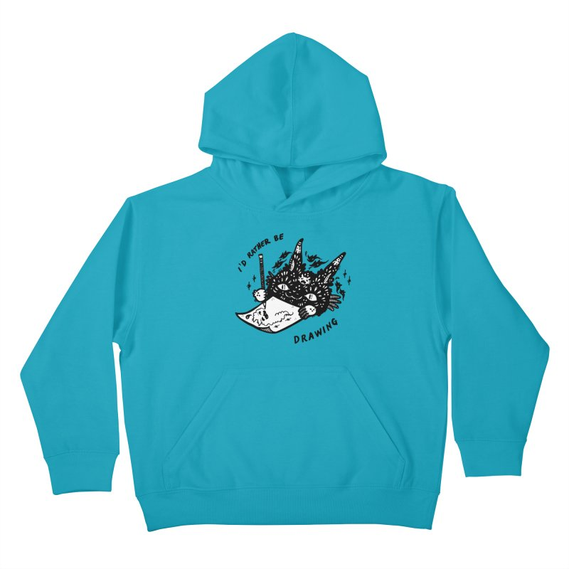 I'd rather be drawing (white background) Kids Pullover Hoody by Haypeep's Artist Shop