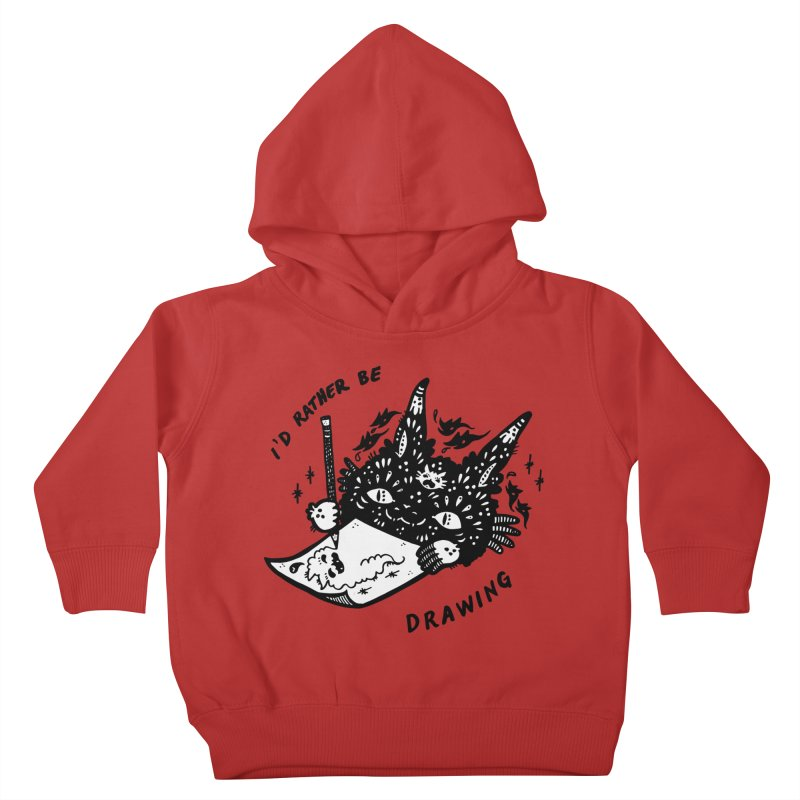 I'd rather be drawing (white background) Kids Toddler Pullover Hoody by Haypeep's Artist Shop