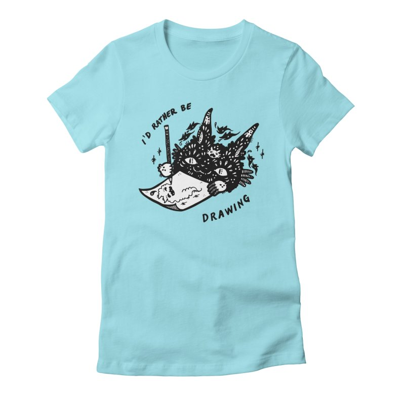 I'd rather be drawing (white background) Women's Fitted T-Shirt by Haypeep's Artist Shop