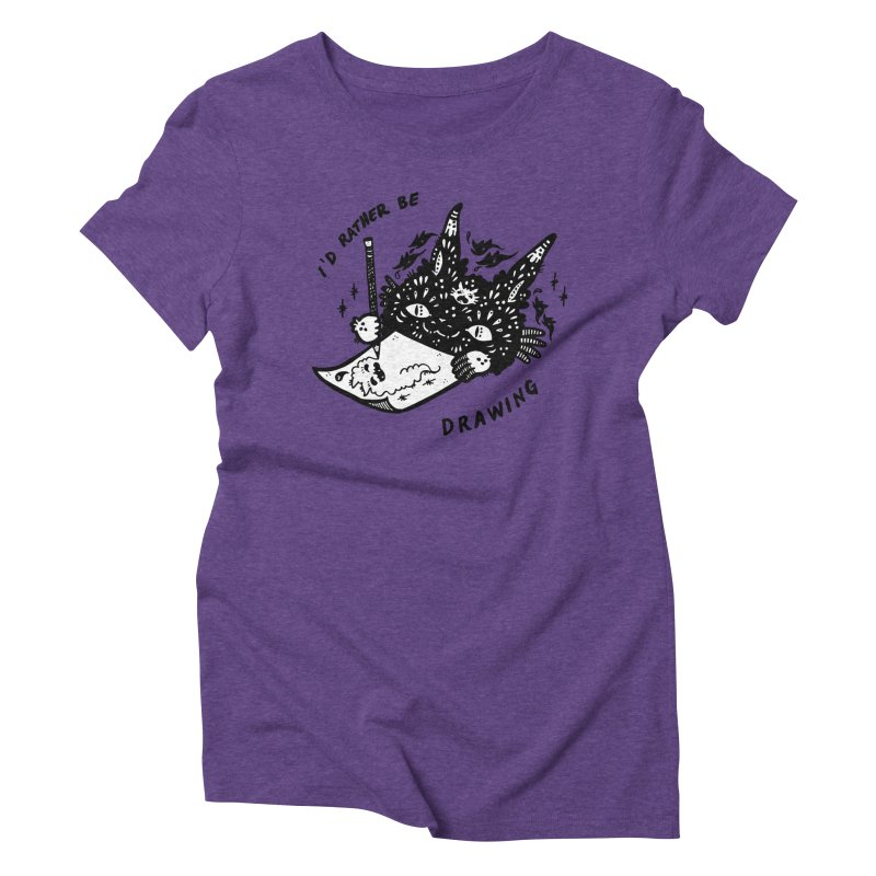 I'd rather be drawing (white background) Women's Triblend T-Shirt by Haypeep's Artist Shop