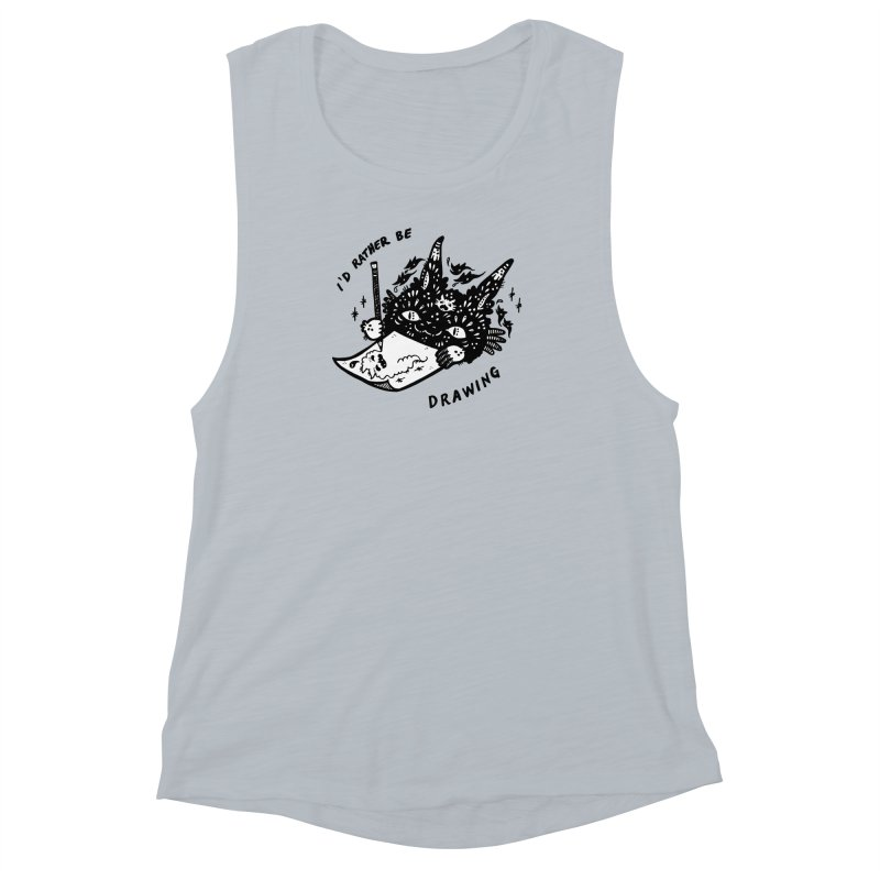 I'd rather be drawing (white background) Women's Muscle Tank by Haypeep's Artist Shop