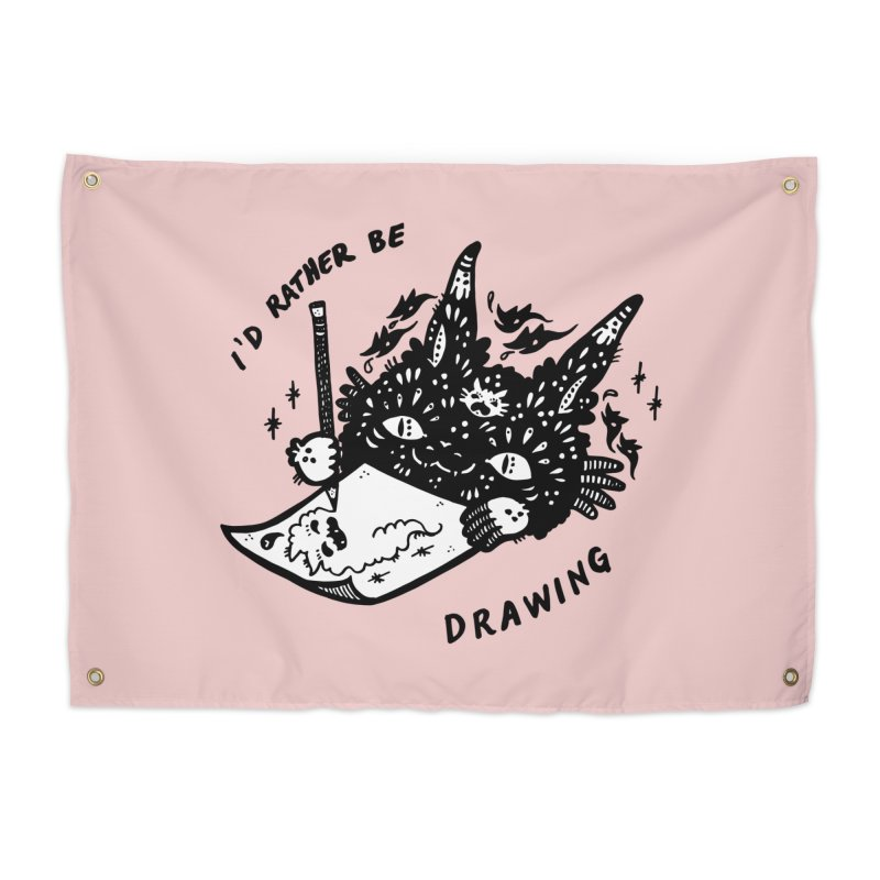 I'd rather be drawing (white background) Home Tapestry by Haypeep's Artist Shop