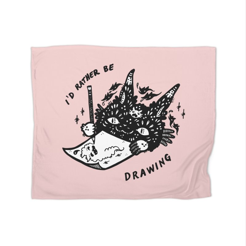 I'd rather be drawing (white background) Home Fleece Blanket Blanket by Haypeep's Artist Shop