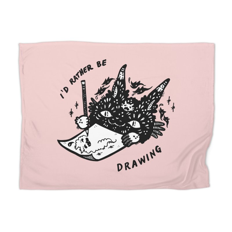 I'd rather be drawing (white background) Home Blanket by Haypeep's Artist Shop