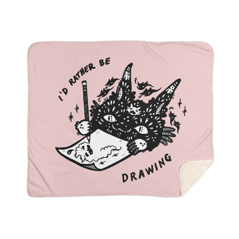 I'd rather be drawing (white background) Home Sherpa Blanket Blanket by Haypeep's Artist Shop