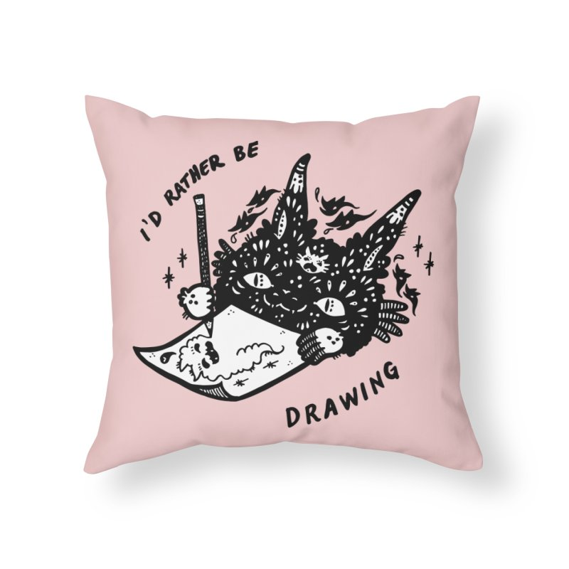 I'd rather be drawing (white background) Home Throw Pillow by Haypeep's Artist Shop
