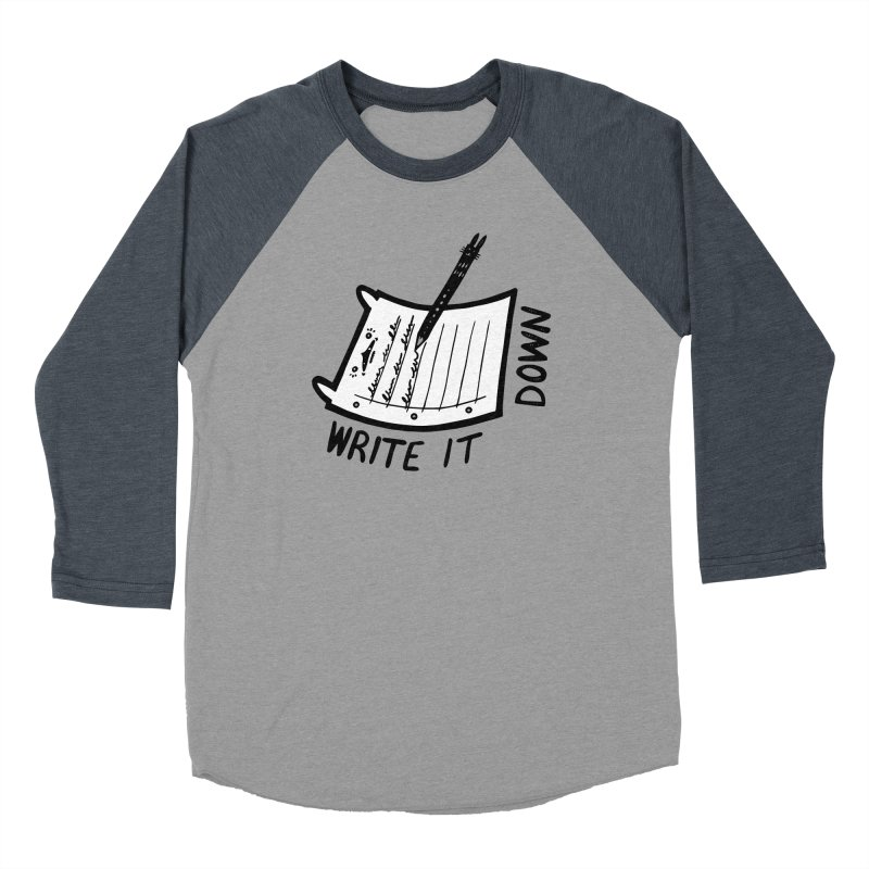 Write It Down (White BG) Women's Baseball Triblend Longsleeve T-Shirt by Haypeep's Artist Shop