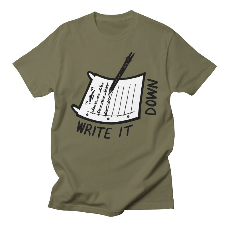 Write It Down (White BG) Men's Regular T-Shirt by Haypeep's Artist Shop