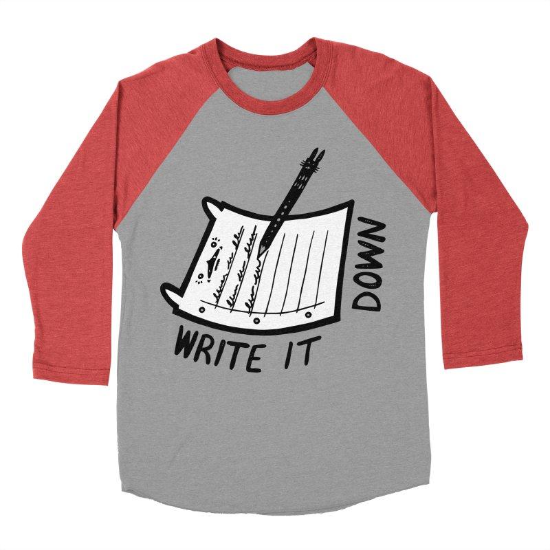 Write It Down (White BG) Women's Baseball Triblend Longsleeve T-Shirt by Haypeep's Artist Shop