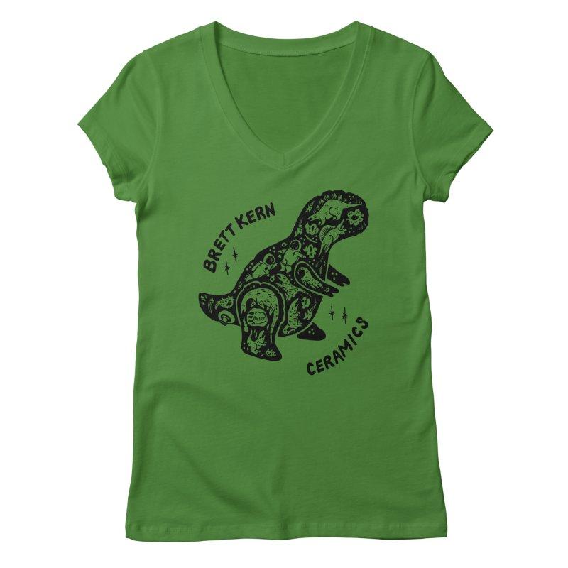 Brett Kern T-Rex Logo Women's Regular V-Neck by Haypeep's Artist Shop