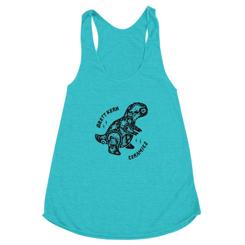Brett Kern T-Rex Logo Women's Racerback Triblend Tank by Haypeep's Artist Shop