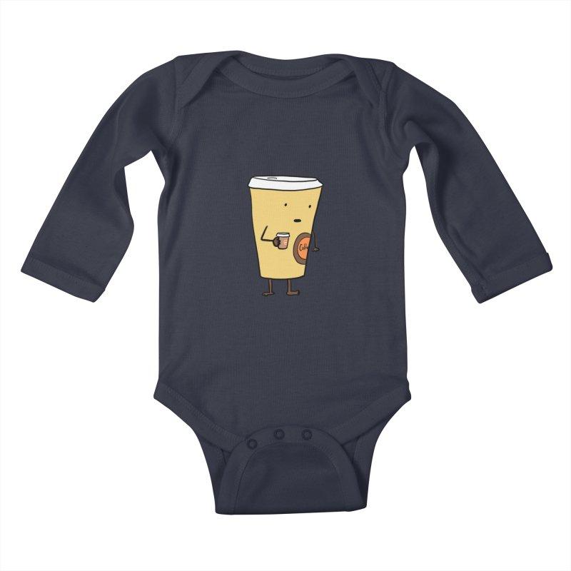 Coffee With Coffee Kids Baby Longsleeve Bodysuit by Hedger Humor's Artist Shop