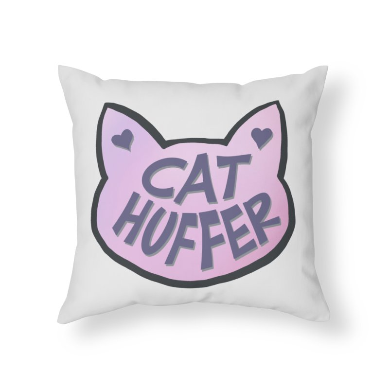 Cat Huffer Home Throw Pillow by Henry Noodle Shop
