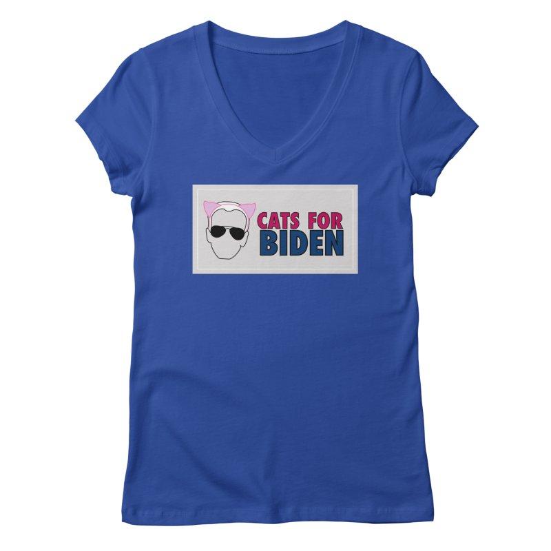 Cats for Biden Women's V-Neck by Henry Noodle Shop