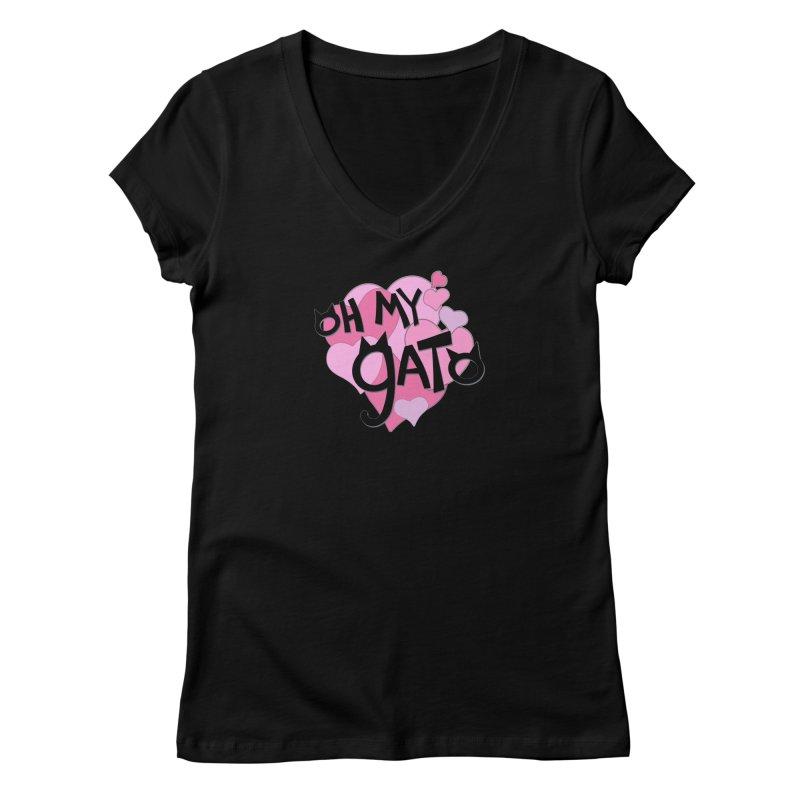 Oh My Gato Women's V-Neck by Henry Noodle Shop