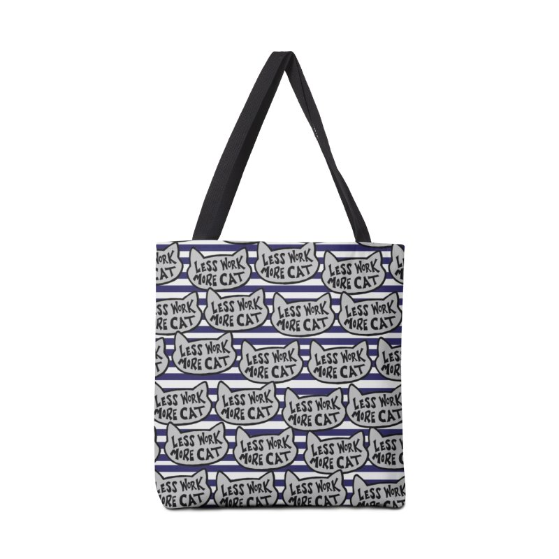 Less Work More Cats with Stripes Accessories Bag by Henry Noodle Shop