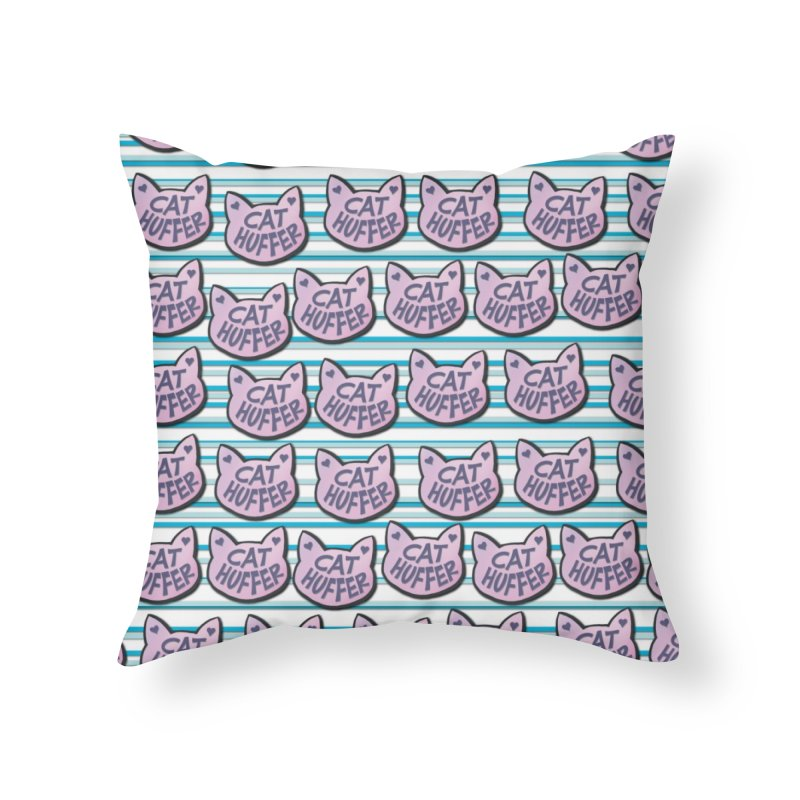 Cat Huffer with Stripes Home Throw Pillow by Henry Noodle Shop