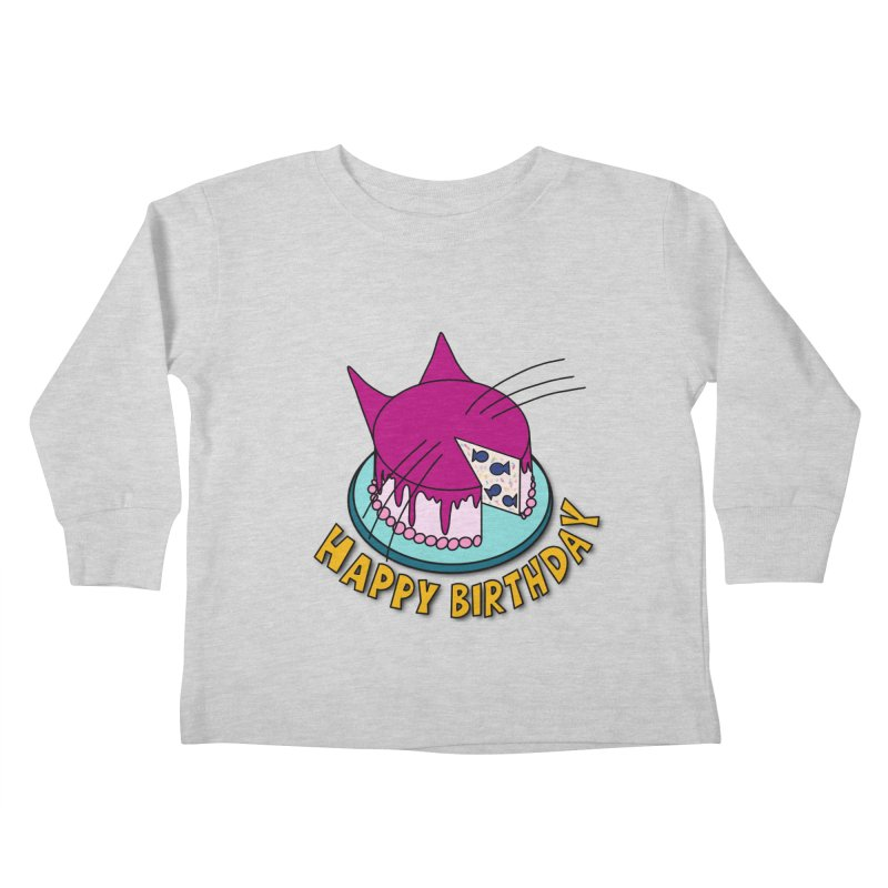Happy Birthday Cat Fish Cake Kids Toddler Longsleeve T-Shirt by Henry Noodle Shop