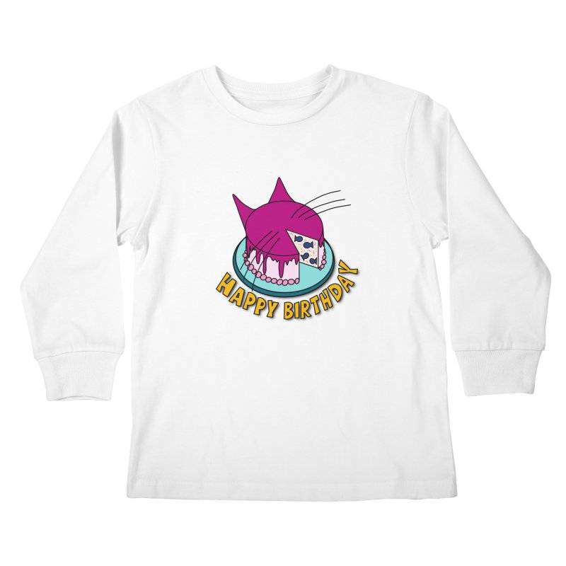 Happy Birthday Cat Fish Cake Kids Longsleeve T-Shirt by Henry Noodle Shop