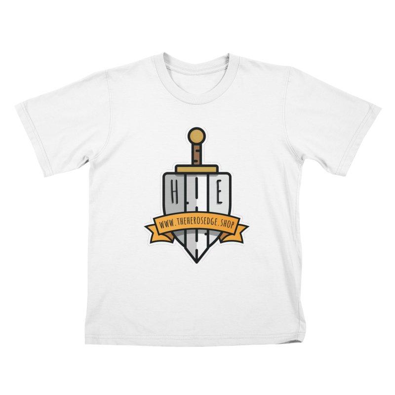 The Hero's Edge Sword & Shield Website Banner Kids T-Shirt by The Hero's Edge