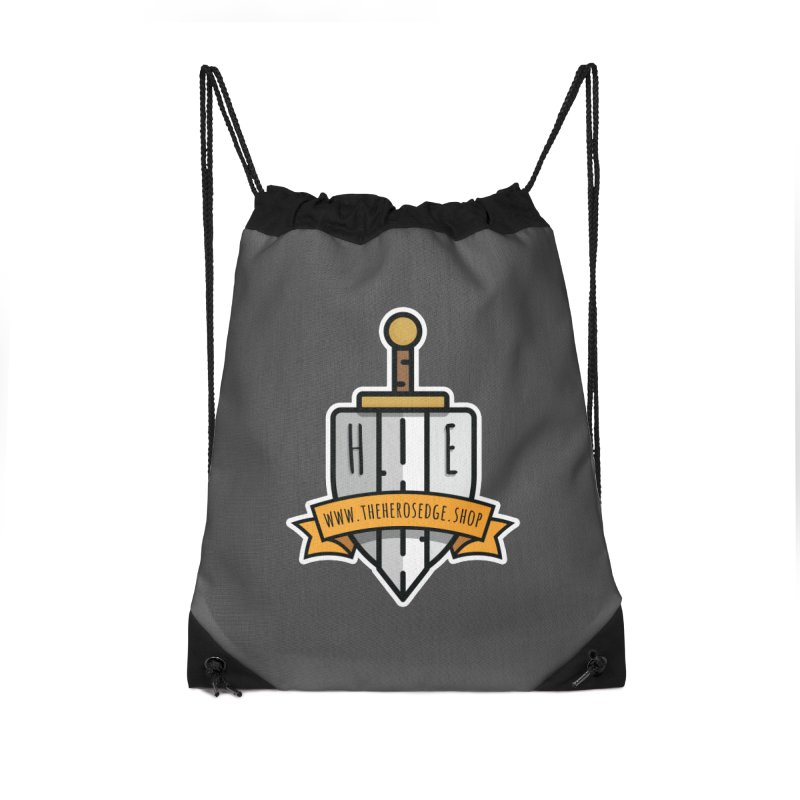 The Hero's Edge Sword & Shield Website Banner Accessories Drawstring Bag Bag by The Hero's Edge