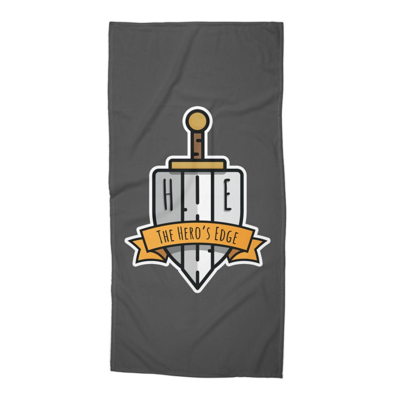 The Hero's Edge Sword & Shield Shop Name Accessories Beach Towel by The Hero's Edge