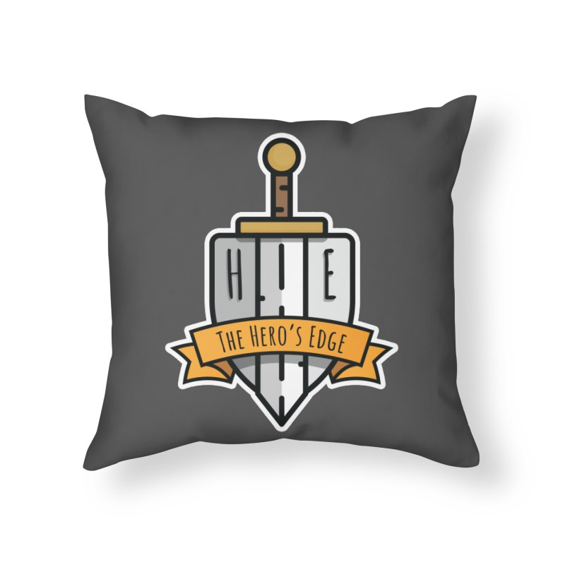 The Hero's Edge Sword & Shield Shop Name Home Throw Pillow by The Hero's Edge