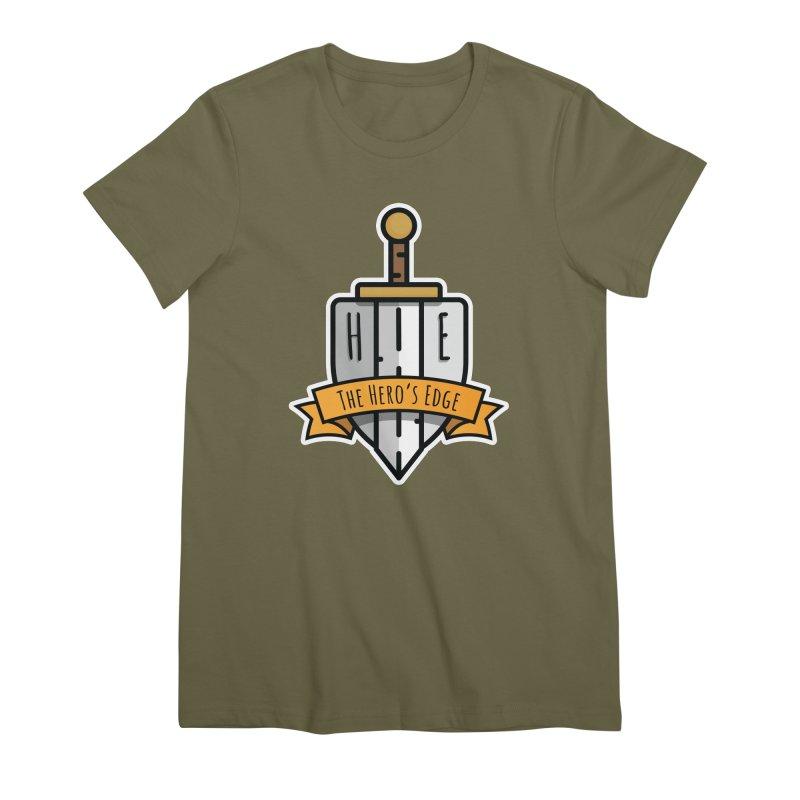 The Hero's Edge Sword & Shield Shop Name Women's Premium T-Shirt by The Hero's Edge