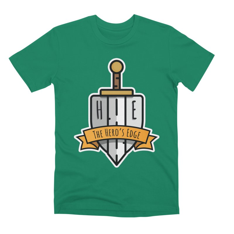 The Hero's Edge Sword & Shield Shop Name Men's Premium T-Shirt by The Hero's Edge