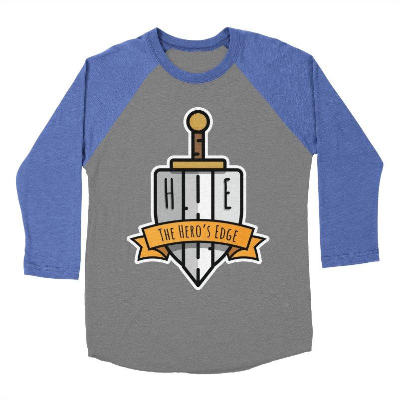 The Hero's Edge Sword & Shield Shop Name Men's Baseball Triblend Longsleeve T-Shirt by The Hero's Edge