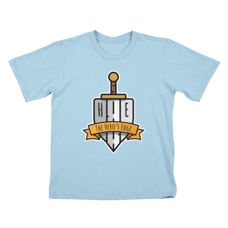 The Hero's Edge Sword & Shield Shop Name Kids T-Shirt by The Hero's Edge