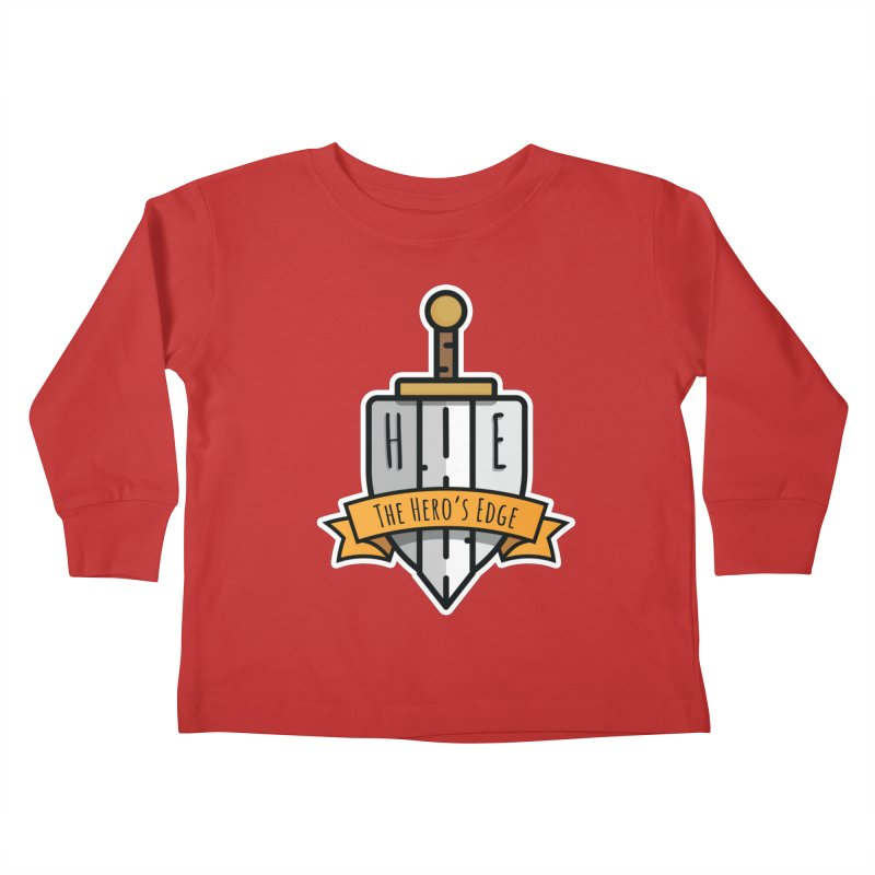 The Hero's Edge Sword & Shield Shop Name Kids Toddler Longsleeve T-Shirt by The Hero's Edge