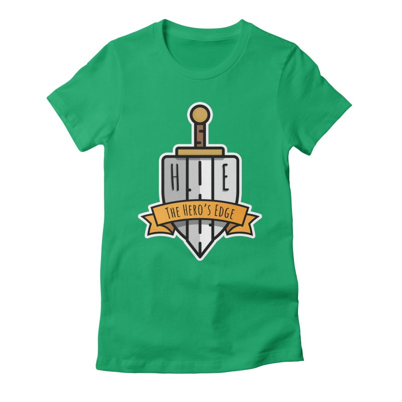 The Hero's Edge Sword & Shield Shop Name Women's Fitted T-Shirt by The Hero's Edge