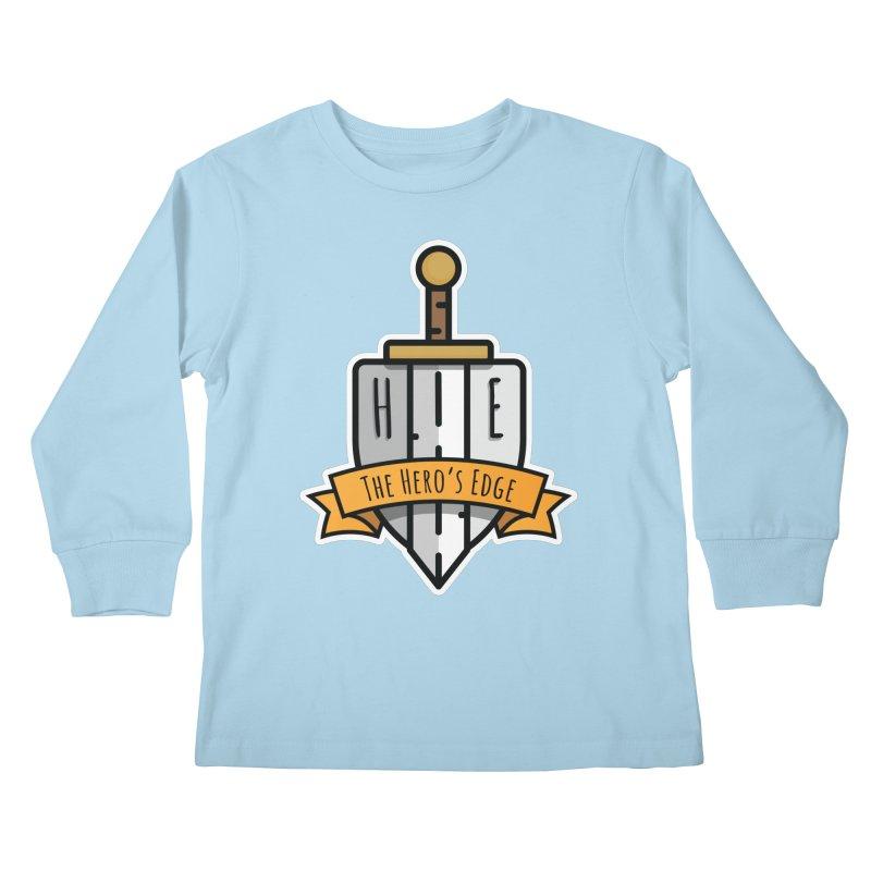 The Hero's Edge Sword & Shield Shop Name Kids Longsleeve T-Shirt by The Hero's Edge
